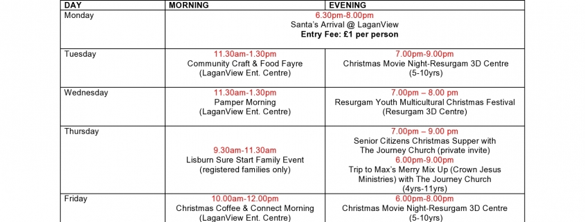 Annual Christmas Week Activities - The Resurgam Trust