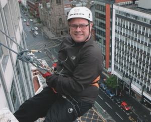 Vince at the start of his abseil