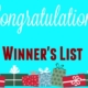Christmas Draw 2019 Winners
