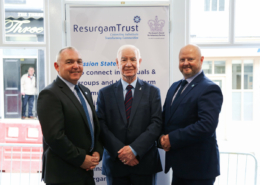 Details of Pictures Adrian Bird (Trust Director of Resurgam Trust), Ivan Davis OBE and Philip Dean (Resurgam Trust Chairman) at the opening of our Welcome House February 2019